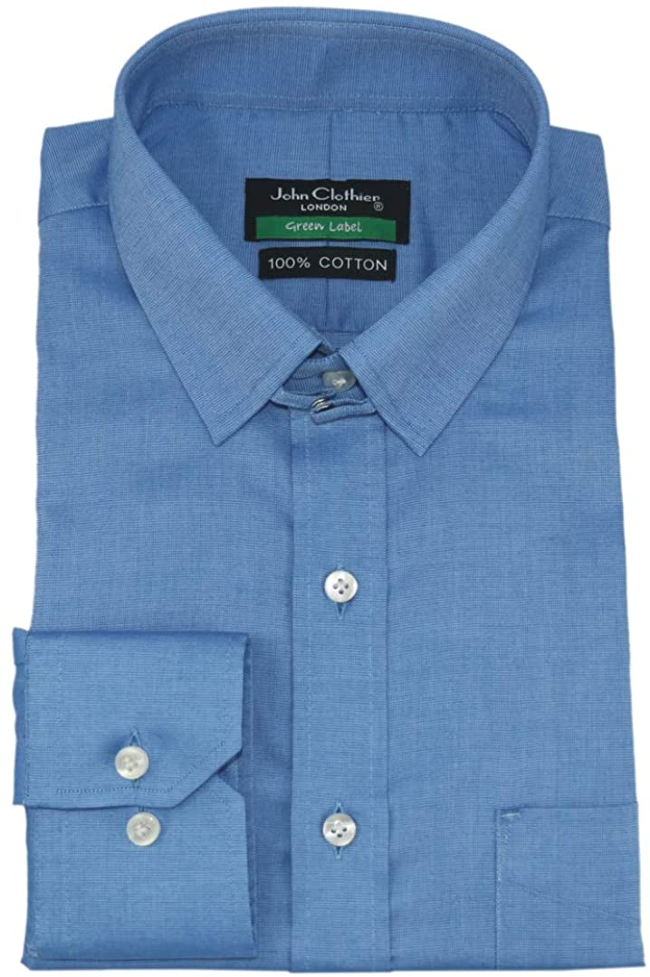 WhitePilotShirts Mens Tab Collar Blue Small Checks Shirt 100% Cotton Long Sleeves Single Cuff Gents 200-34