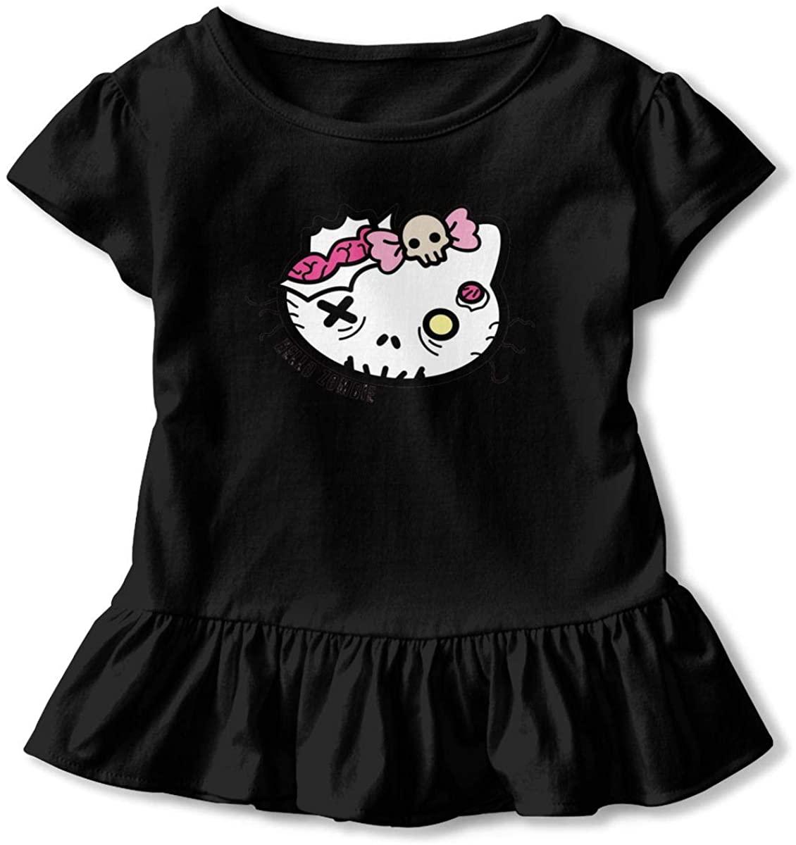 325 Hello Zombie Baby Girls T-Shirts Short-Sleeved Ruffle T-Shirt Girls Dresses