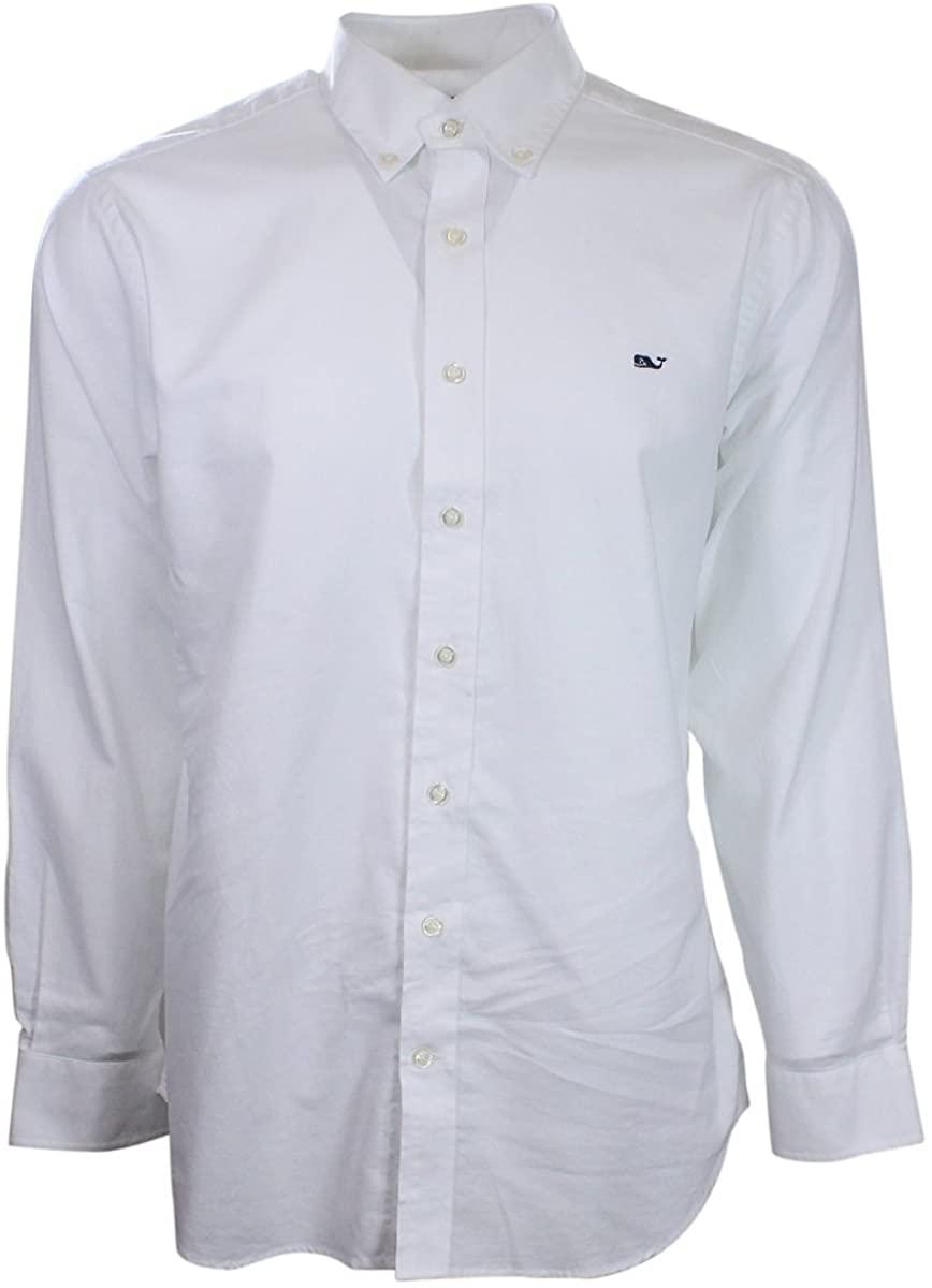 Vineyard Vines Slim Fit Whale Shirt (White Oxford, X-Large)