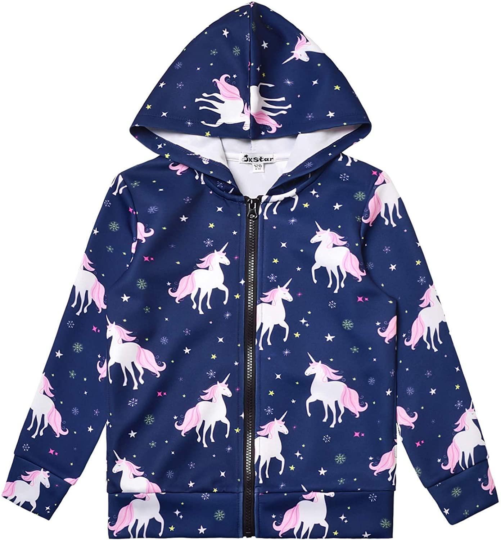 Girls Zip Up Hoodie Jacket Unicorn Sweatshirt with Pockets