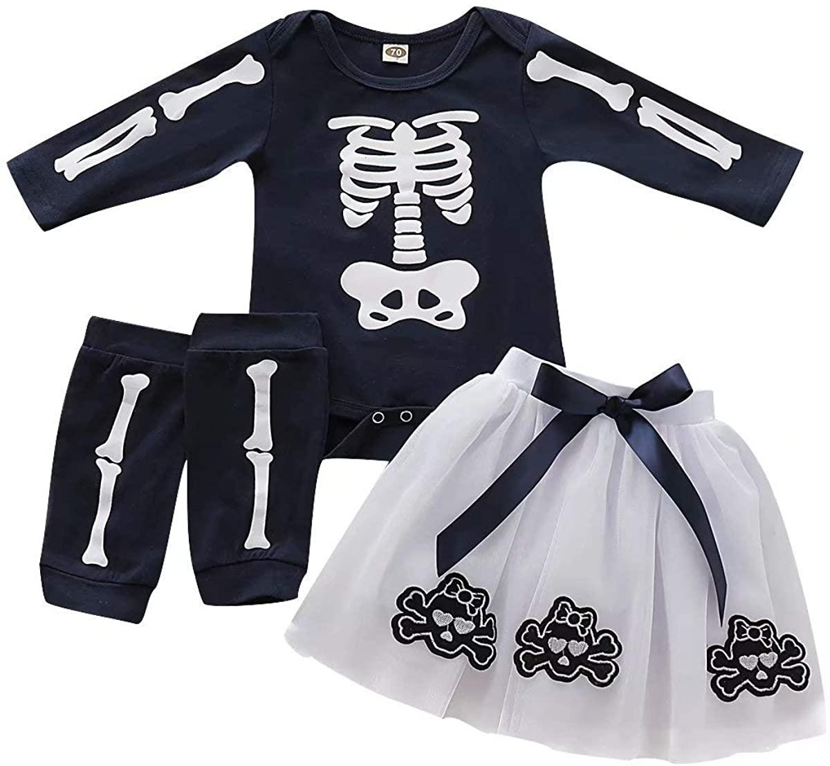 Jobakids Baby Girls Long Sleeve Halloween Shirt and Skirt Set Skull Tutu Sets Chiffon Dress with Leg Warmer(Dark Blue,18Month)