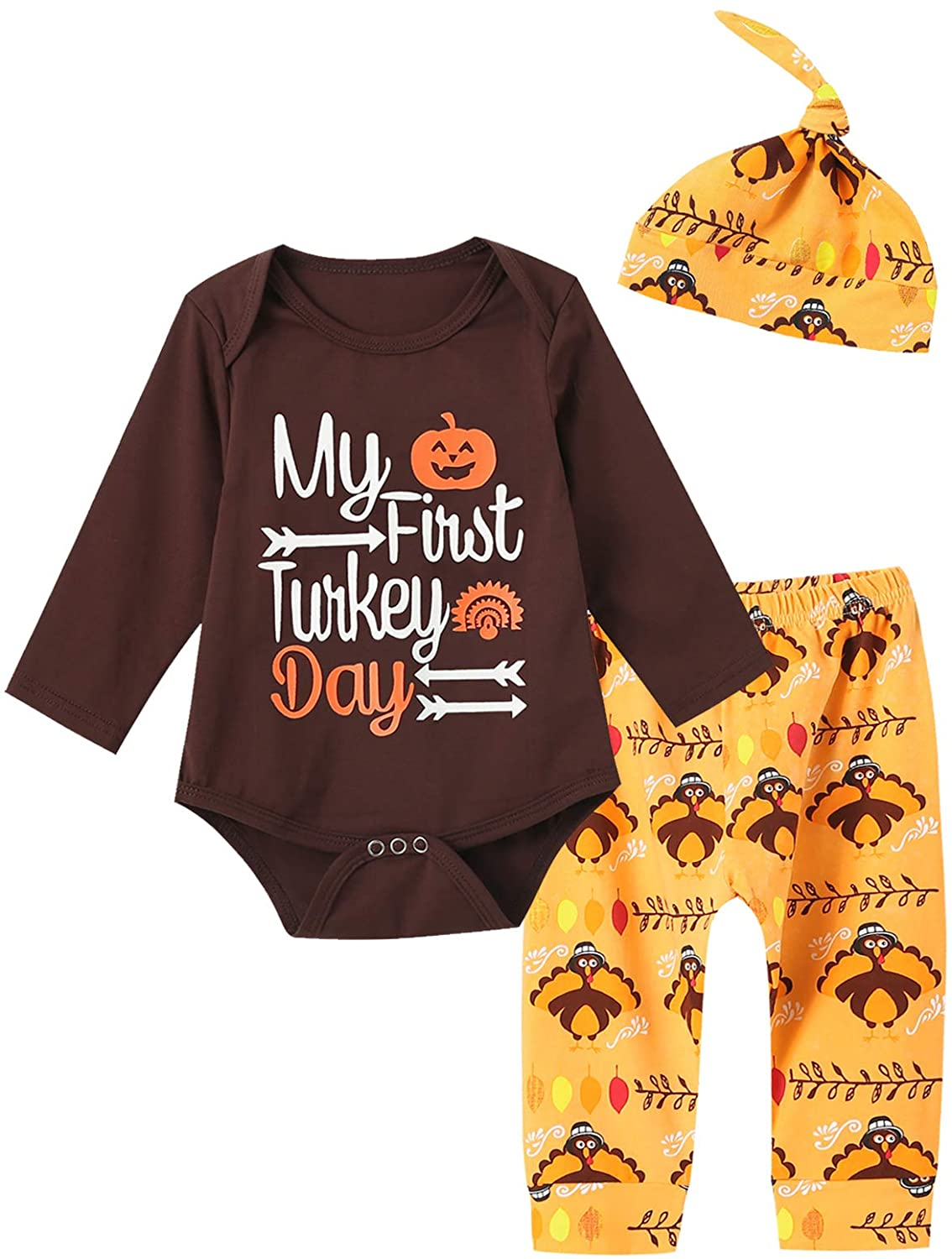 MoryGooder Newborn Baby Boy Girl Thanksgiving Outfit First Turkey Day Romper Pant Clothing Sets