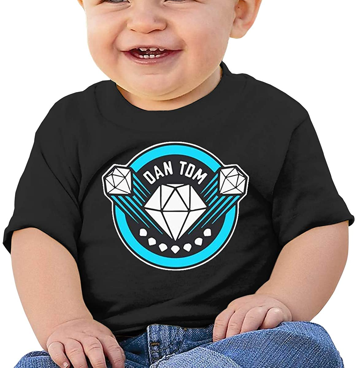 6-24 Months Boy and Girl Baby Short Sleeve T-Shirt Dantdm Elegant and Simple Design Black