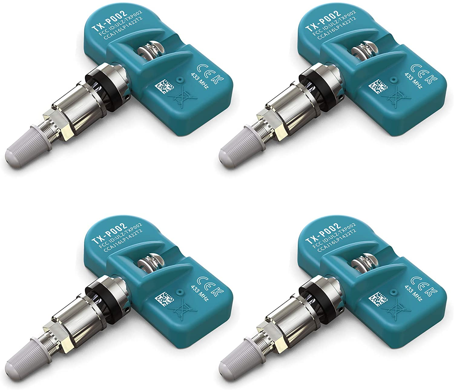 MORESENSOR UNI-Series 433MHz Pre-Programmed TPMS Tire Pressure Sensor 4-Pack | Clamp-in | Compatible with Select 450+ European Brand Models 36236798726 | TX-S003-4