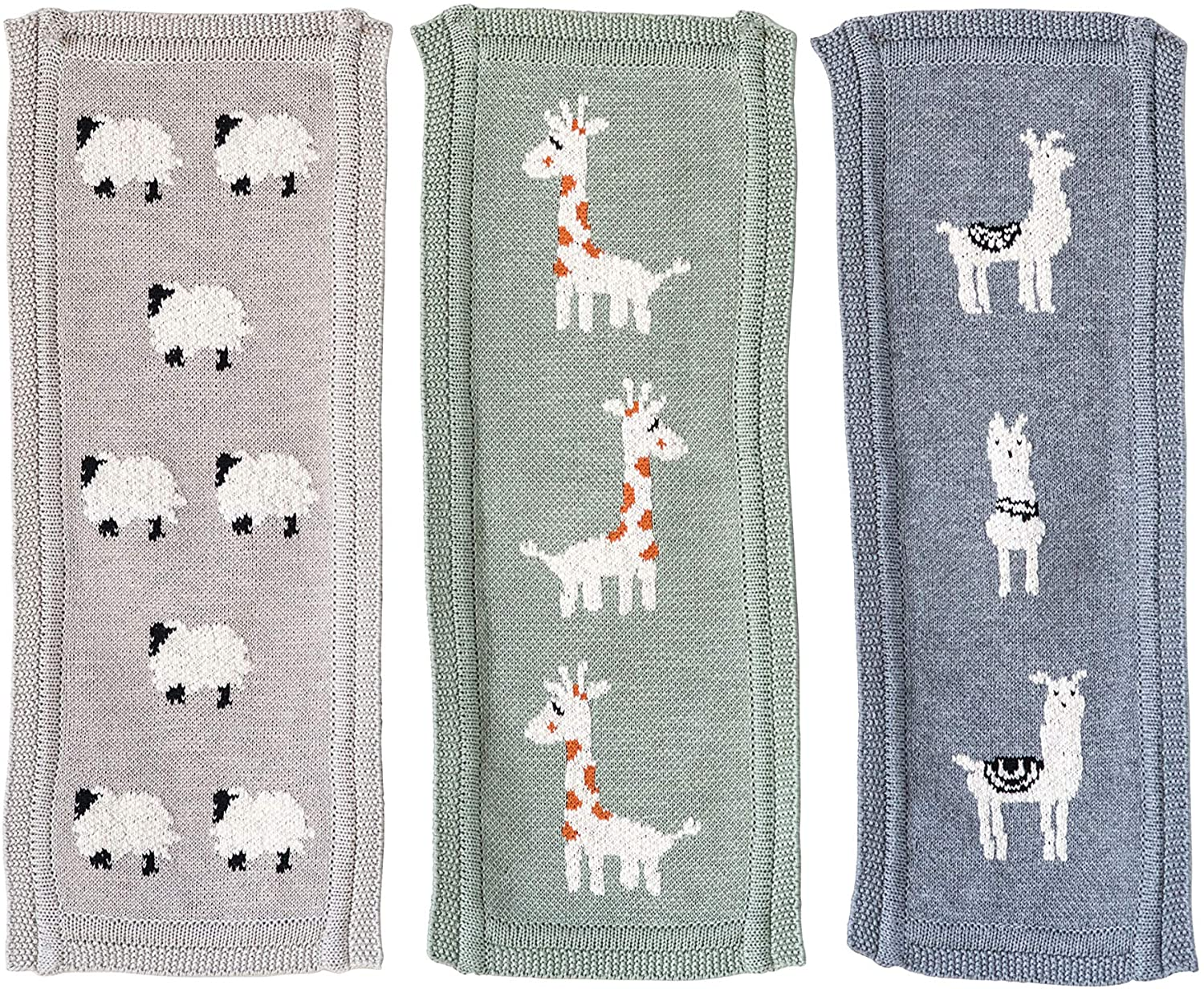 Creative Co-op Cotton Knit Animal (Set of 3 Styles) Burp Cloth, Multicolored