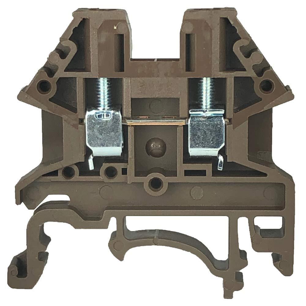 Dinkle Brown DK2.5N-BR DIN Rail Terminal Block Screw Type UL 600V 20A 12-22AWG, Pack of 100