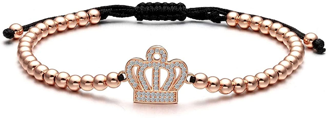 Jovivi 4mm Copper Beads Couples Bracelets Men Women Cubic Zirconia Crystals King Queen Crown Matching Bracelets for Best Friends Him/Her Gifts Adjustable