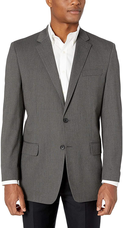 J.M. Haggar Men's 4-Way Stretch Diamond Weave Classic Fit Suit Separate Pant, Dark Grey, 46R
