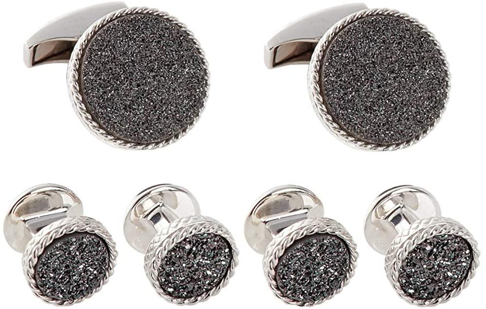 Tateossian Charcoal Drusy Round Silver Shirt Stud Set, Black