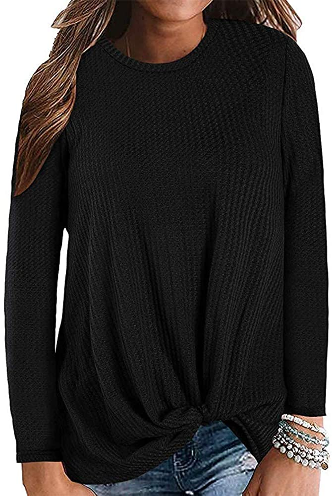 kayamiya Women's Comfy Long Sleeve Shirts Casual Twist Knot Waffle Knit Lightweight Sweatshirt Blouse Tops
