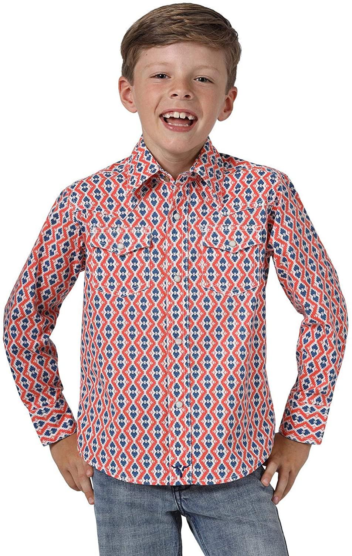 Wrangler Boys' 20X Coral Geo Print Long Sleeve Western Shirt Coral X-Large