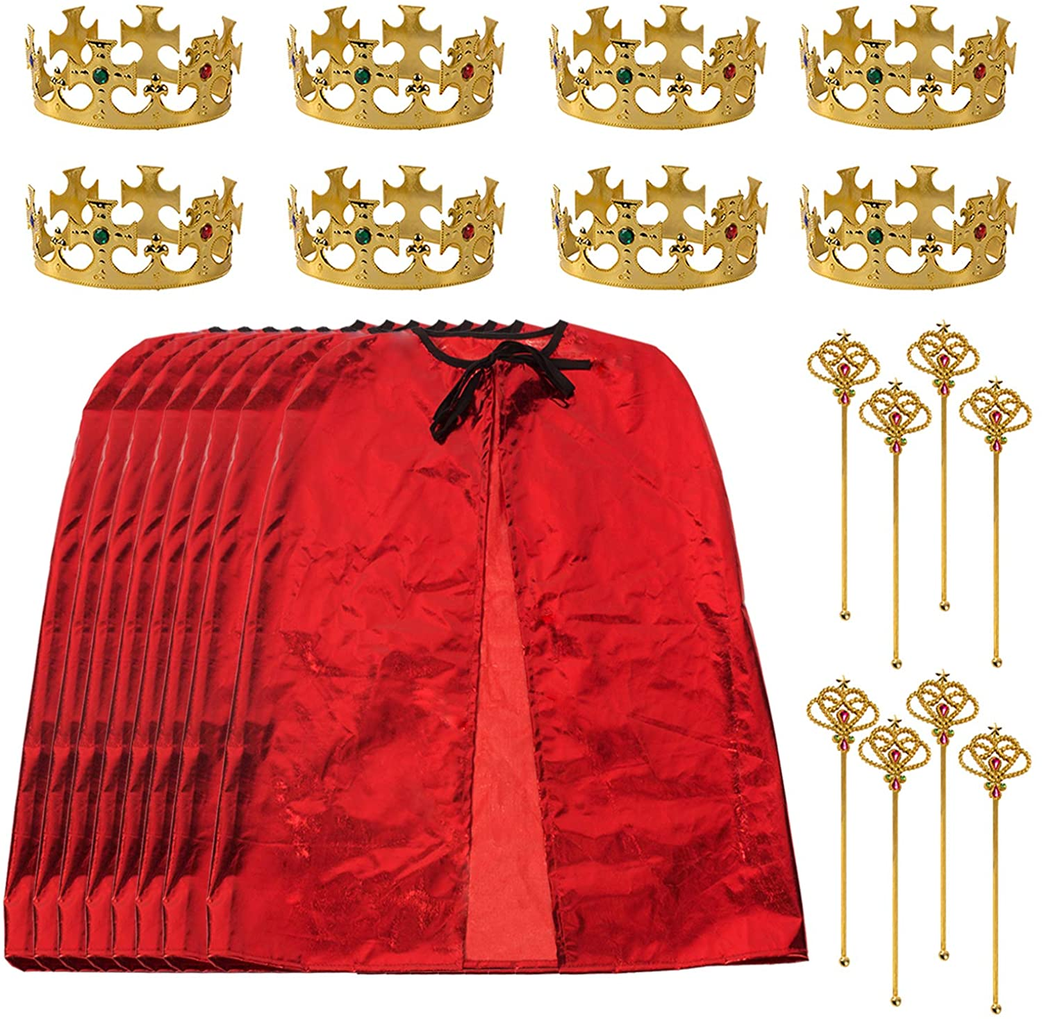 Tigerdoe King Party Set for Children- 24 pc Set- Royal King Costume Set for Kids- Dress Up for Pretend Play- Child Role Play- Costume Accessories Red and Gold
