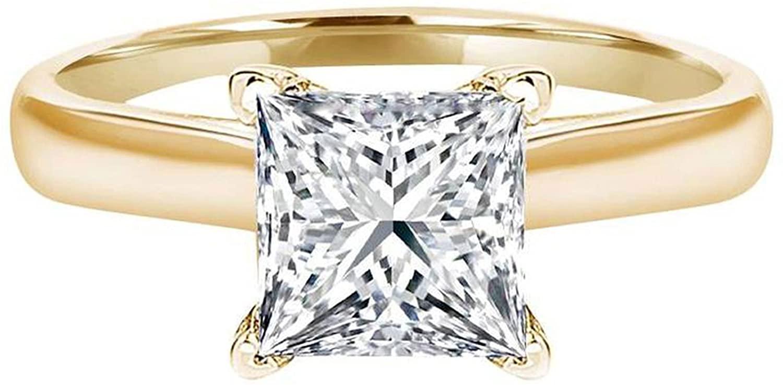Clara Pucci 3.2 Ct Princess Brilliant Cut Solitaire Engagement Wedding Bridal Anniversary Ring 14K Yellow Gold