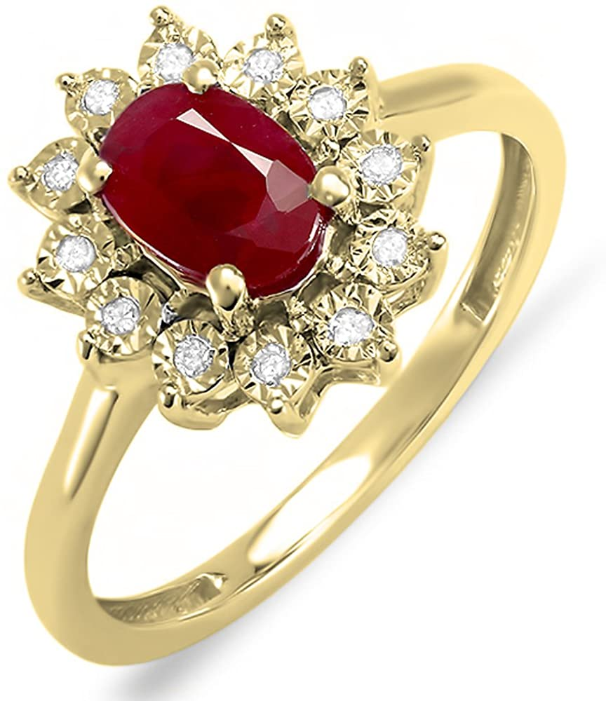 Dazzlingrock Collection Kate Middleton Diana Inspired 14K Gold Diamond Oval Red Ruby Royal Bridal Ring