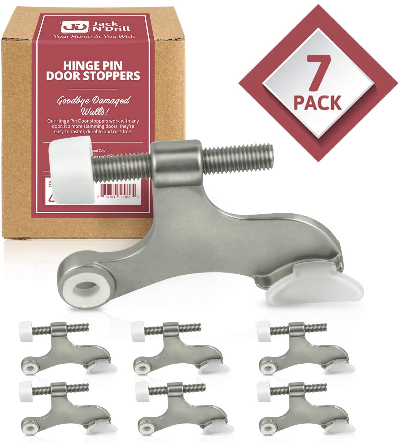 Jack N' Drill Hinge Pin Door Stop (7 Pack) - Convenient Door Stopper for Door Hinges | Durable, Heavy Duty Metal Construction for Preventing Damaged Walls and Extra Door Security