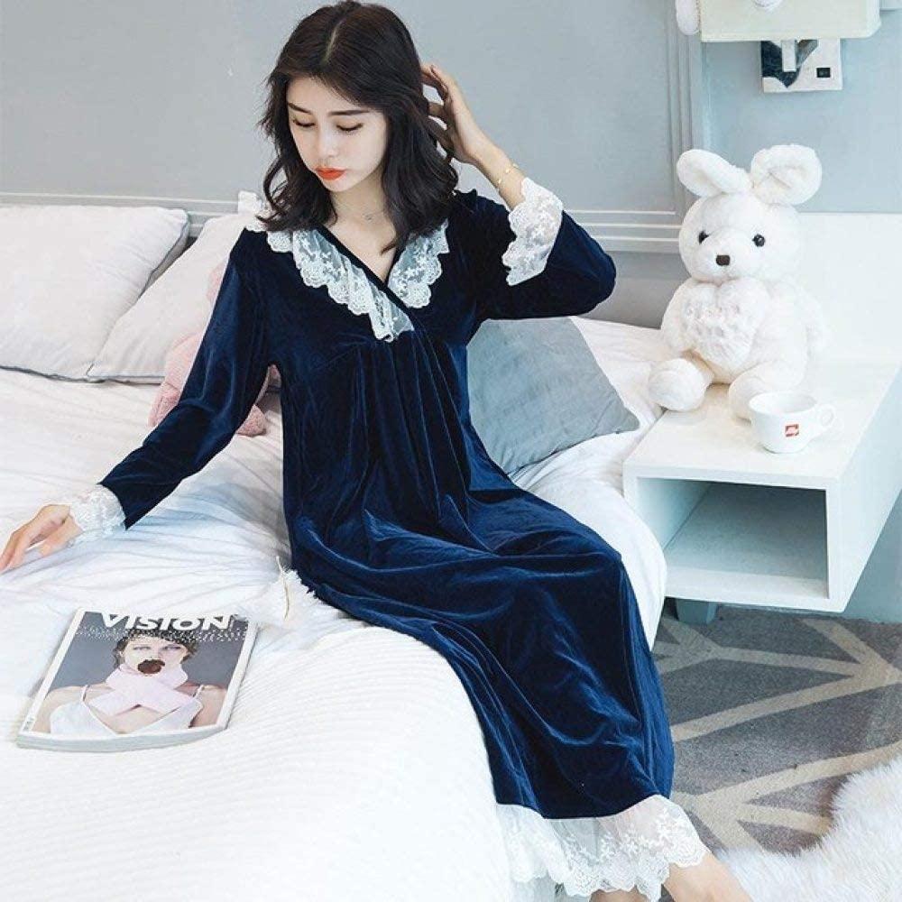 llwannr Robe Nightgown Sleep,Exquisite Burgundy V-Neck Lace Women Winter Sleepwear Nightgown Velvet Keep Warm Nightdress Homewear Casual Soft Bath Gown,Navy Blue,L