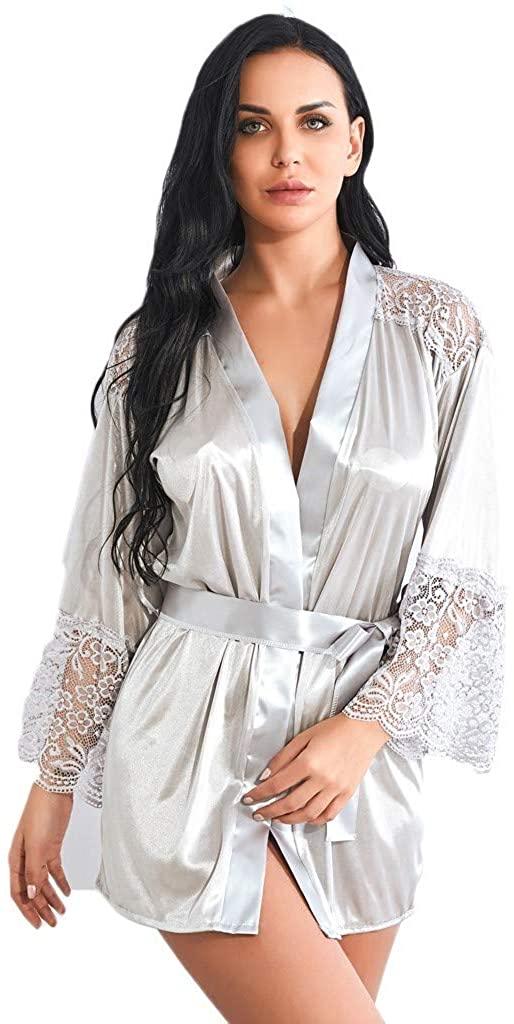 Women Pure Color Satin Short Silky Bathrobe Sleepwear Nightgown Pajama