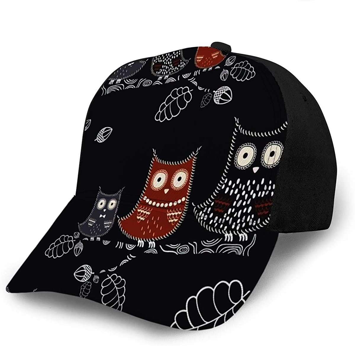 Baseball Hats Caps Owl with Oak Branch Acorns and Leaves Forest Birds Texture De