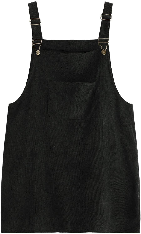 Romwe Women's Plus Size Pocket Front Adjustable Straps Corduroy Pinafore Short Dress