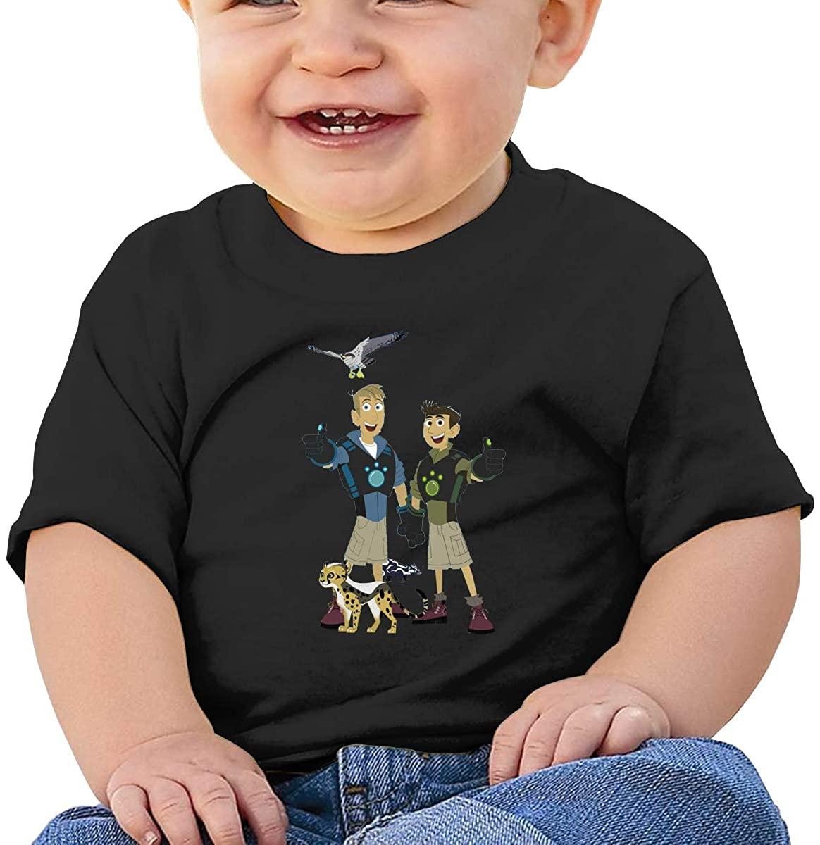 6-24 Months Boy and Girl Baby Short Sleeve T-Shirt Wild Kratts Logo Original Minimalist Style Black