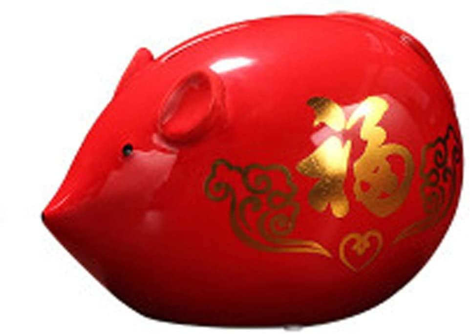 Ceramics Piggy Banks, Lucky Rat Mouse Coin Bank Money Bank Keepsake Mascot 2020 Chinese Zodiac Rat Year Decor Statue Home Office Creative for Boy Girl Adult Best Gift,B