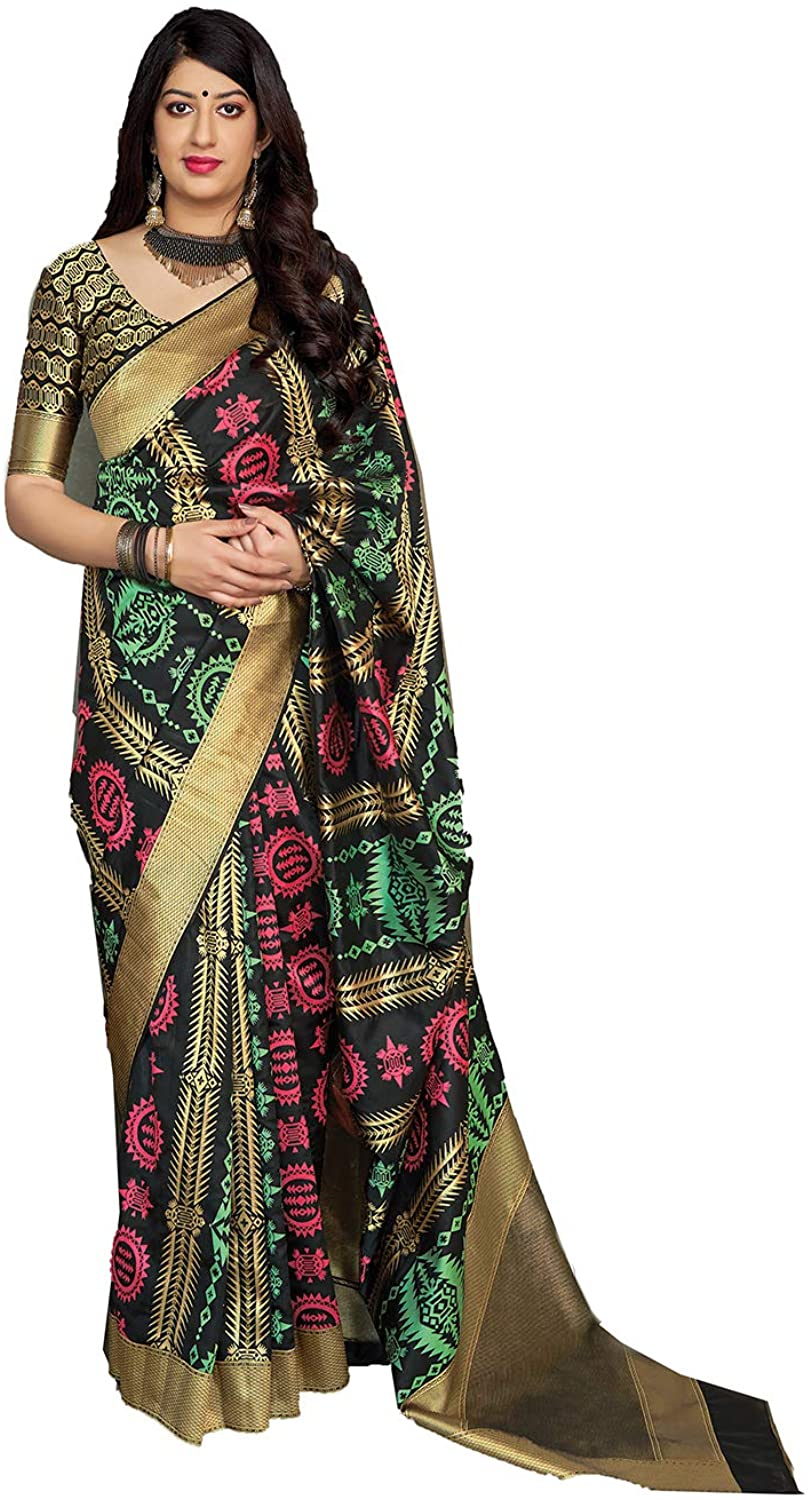 Saree for Women Bollywood Wedding Designer Black Sari with Unstitched Blouse.