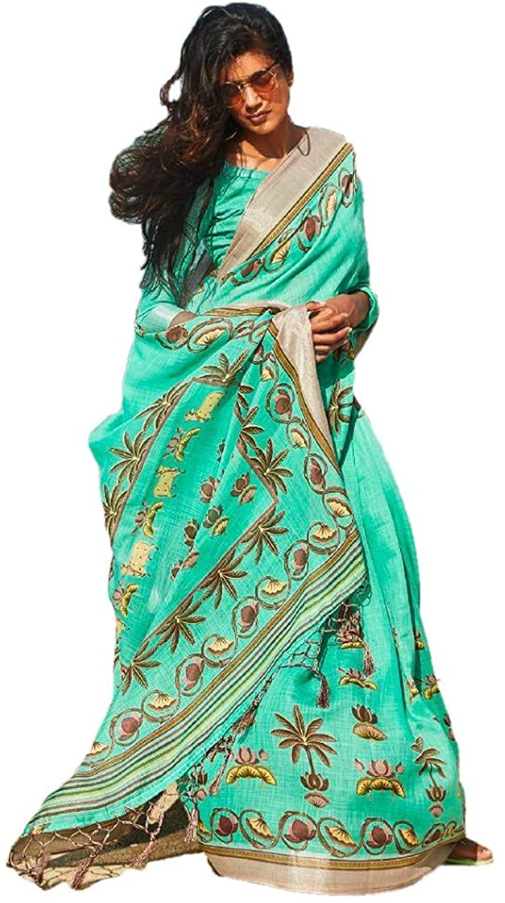 REKHA Linen Cotton Saree Party Wear Saree 227 Sky Blue
