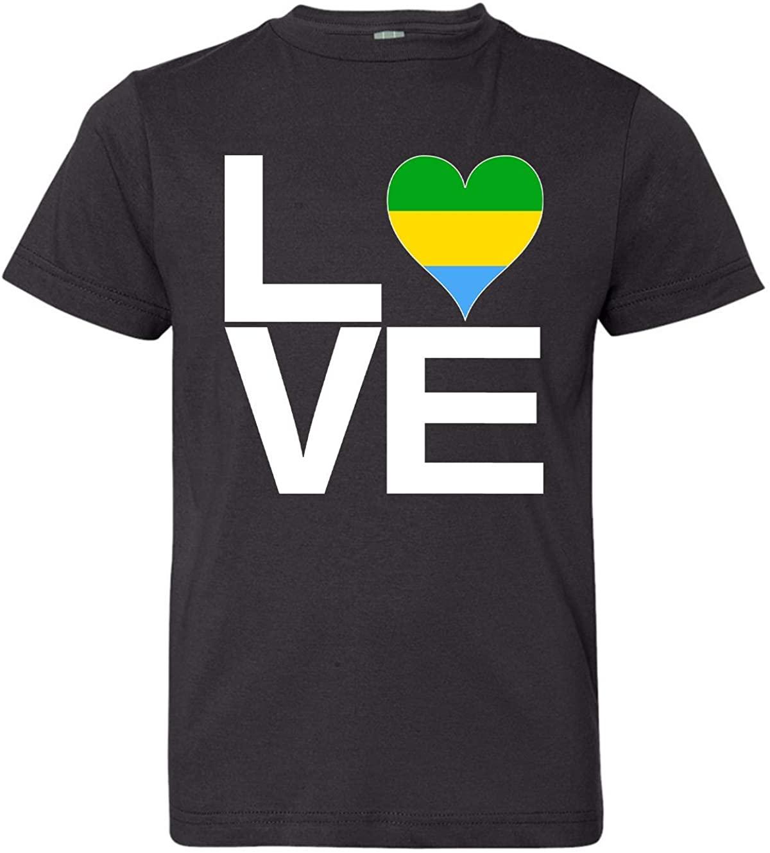 Tenacitee Boy's Youth Love Block Gabon Heart T-Shirt