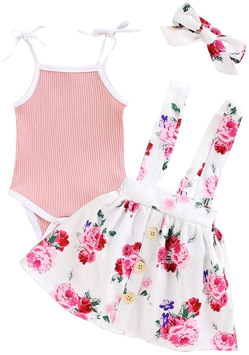Newborn Baby Girls Summer Outfit Halter Strap Romper Top Suspender Floral Skirt Dress Clothes Set