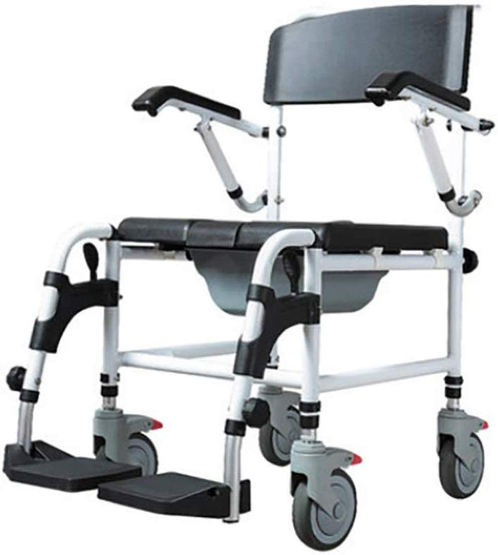 JASIN Toilet Commode Chair, Aluminum Alloy Folding with Detachable Armrests and Pedals, Shower Shower Chair, Suitable for The Elderly Disabled