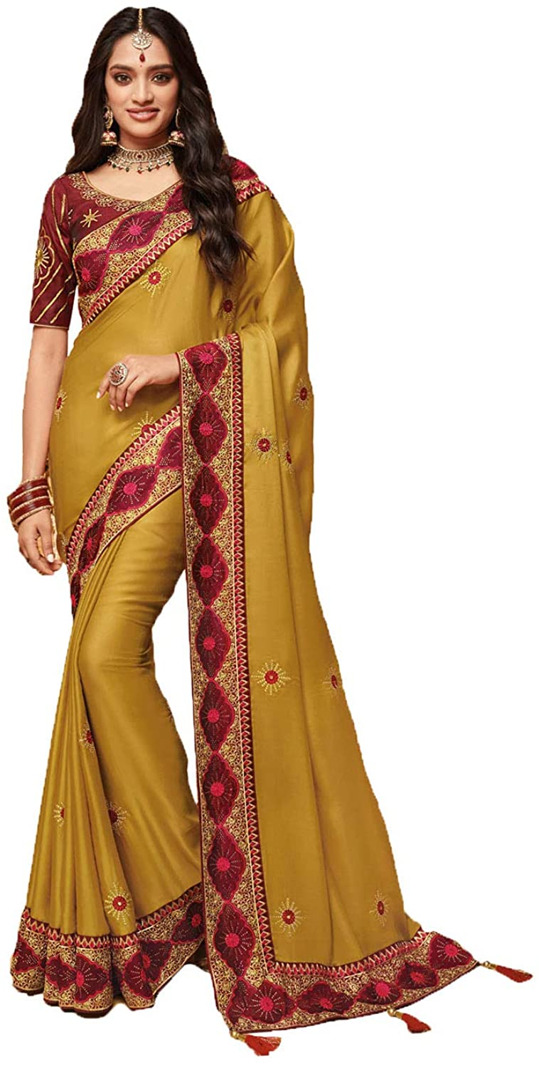 Saree for Women Bollywood Wedding Designer Olive Sari with Unstitched Blouse. ICW2525-11