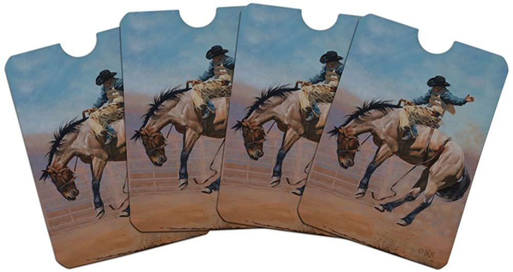 Saddle Bronc Horse Cowboy Riding Rodeo Event Credit Card RFID Blocker Holder Protector Wallet Purse Sleeves Set of 4