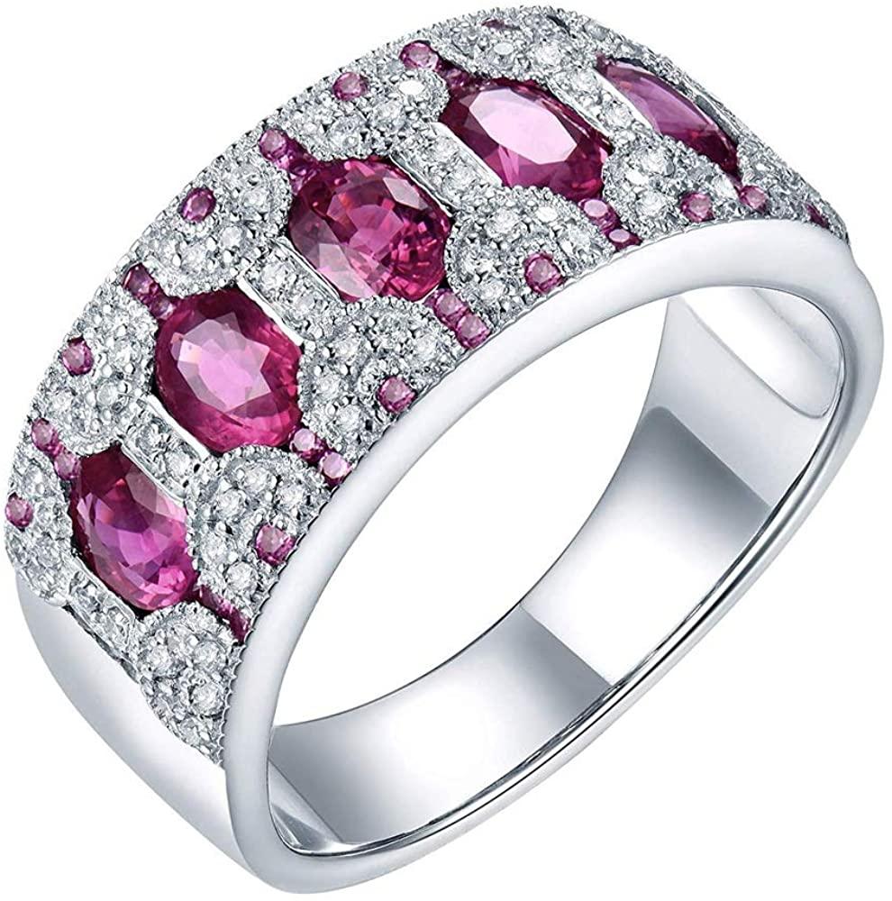 Lanmi 14K White Gold Pink Sapphire Engagement Diamonds Ring Wedding Band for Women