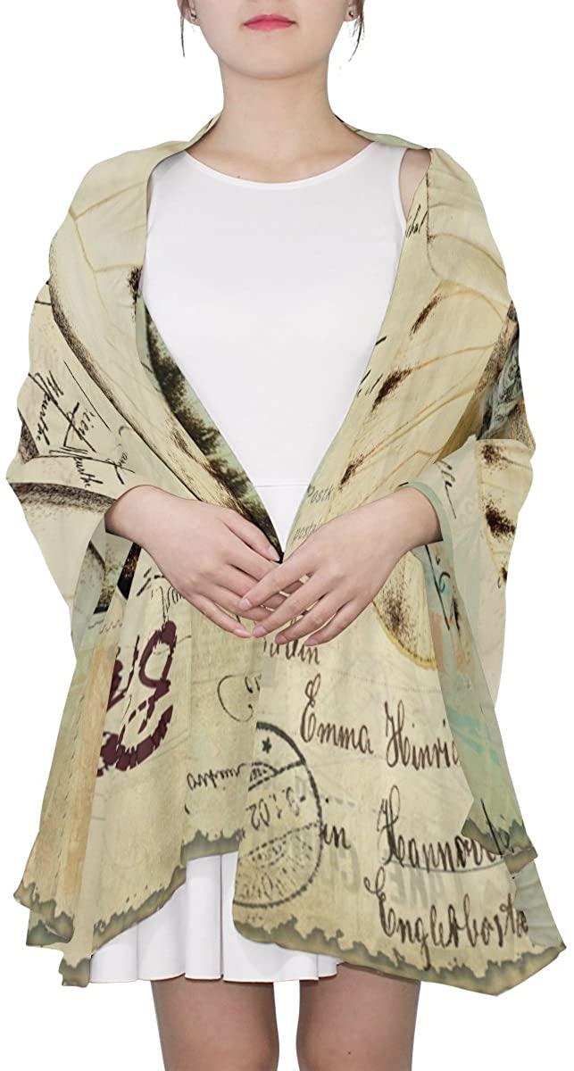 Ethel Ernest Retro Butterfly Womens Silk Scarf Lightweight Shawl Soft Long Scarves