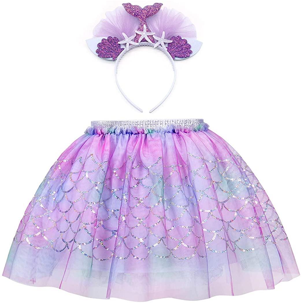 AmzBarley Girls Princess Sequins Skirts Mermaid Tutu Dress Birthday Fancy Party Outfits 2-7 Years