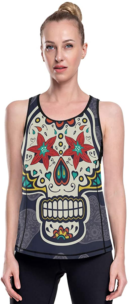 Womens Tank Tops Stylish Sugar Skull Lily Eyes Racerback Athletic Workout Tank Tops Vest Loose Fit