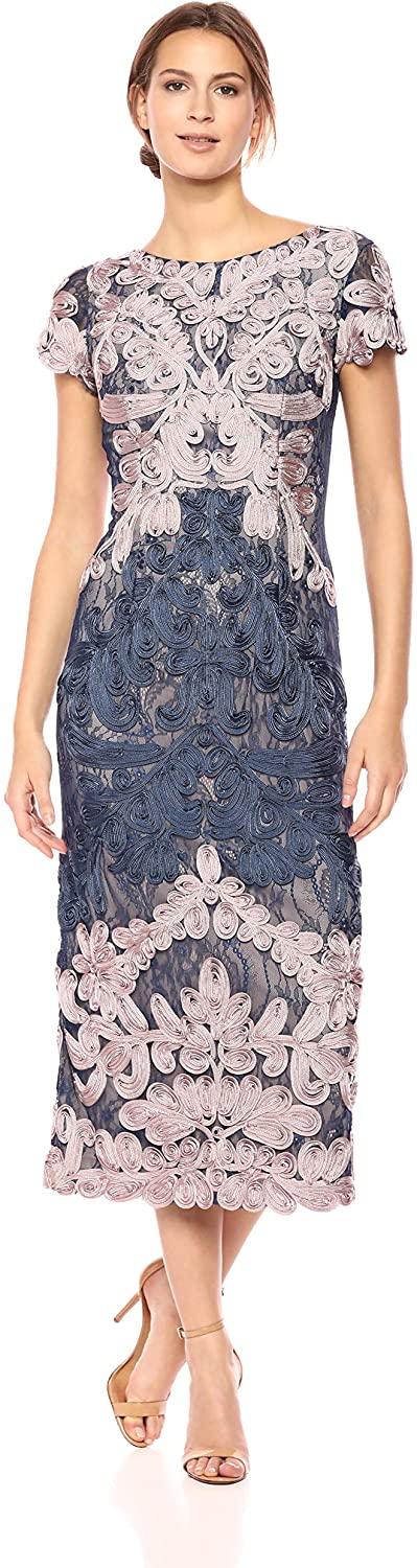 JS Collection Women's Short Sleeve Embroidered Midi