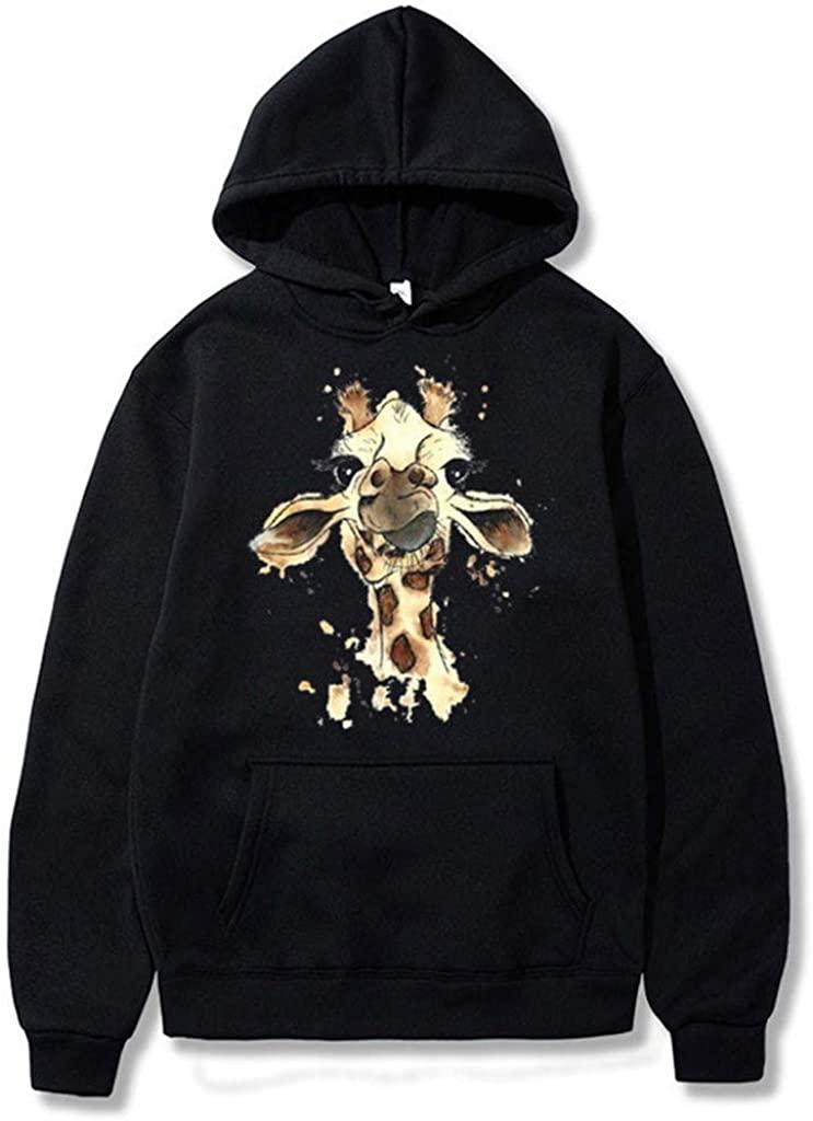 HGWXX7 Womens Hoodie Solid Color Giraffe Printed Sweatshirt Loose Casual Long Sleeves Blouses Top