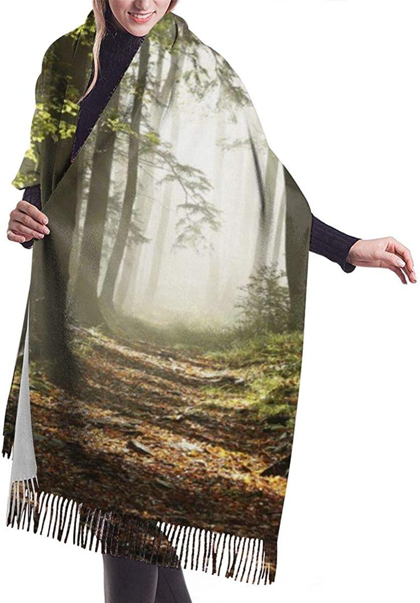Autumnal Forest Pathway Mist Wilderness Scene Women's Winter Warm Scarf Fashion Long Large Soft Cashmere Shawl Wrap Scarves