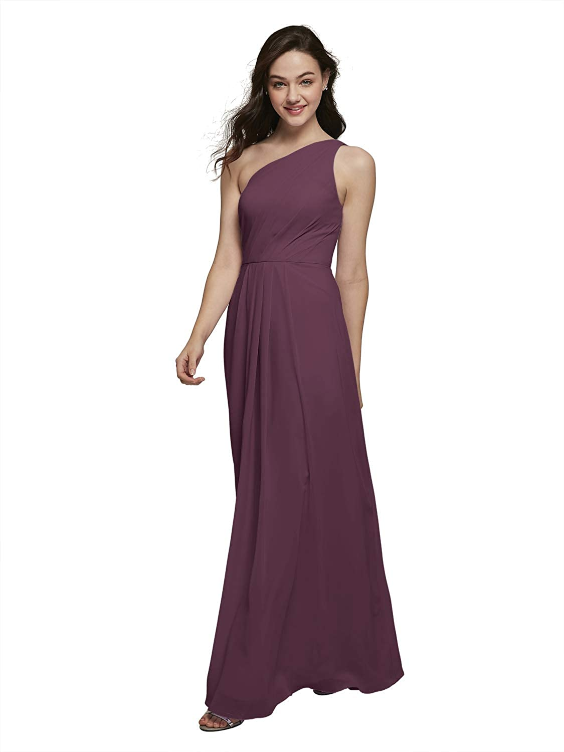 Alicepub One Shoulder Chiffon Bridesmaid Dresses Long Formal Dress for Special Ocassion