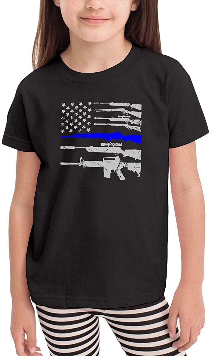 LINGMEI Children's T-Shirt Gun American Flag Kids Boys and Girls Short-Sleeved Shirt
