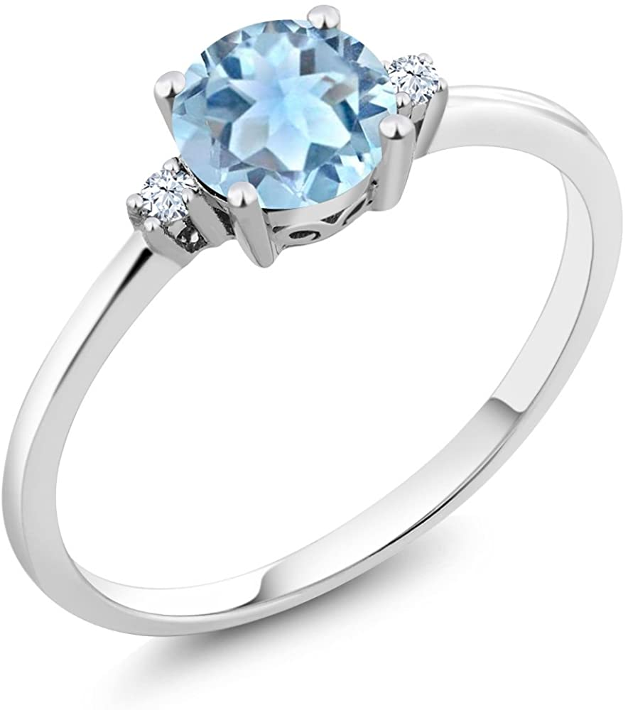 Gem Stone King 10K White Gold Sky Blue Aquamarine and White Created Sapphires Women Engagement Solitaire Ring (0.78 Ct Round Available in size 5, 6, 7, 8, 9)