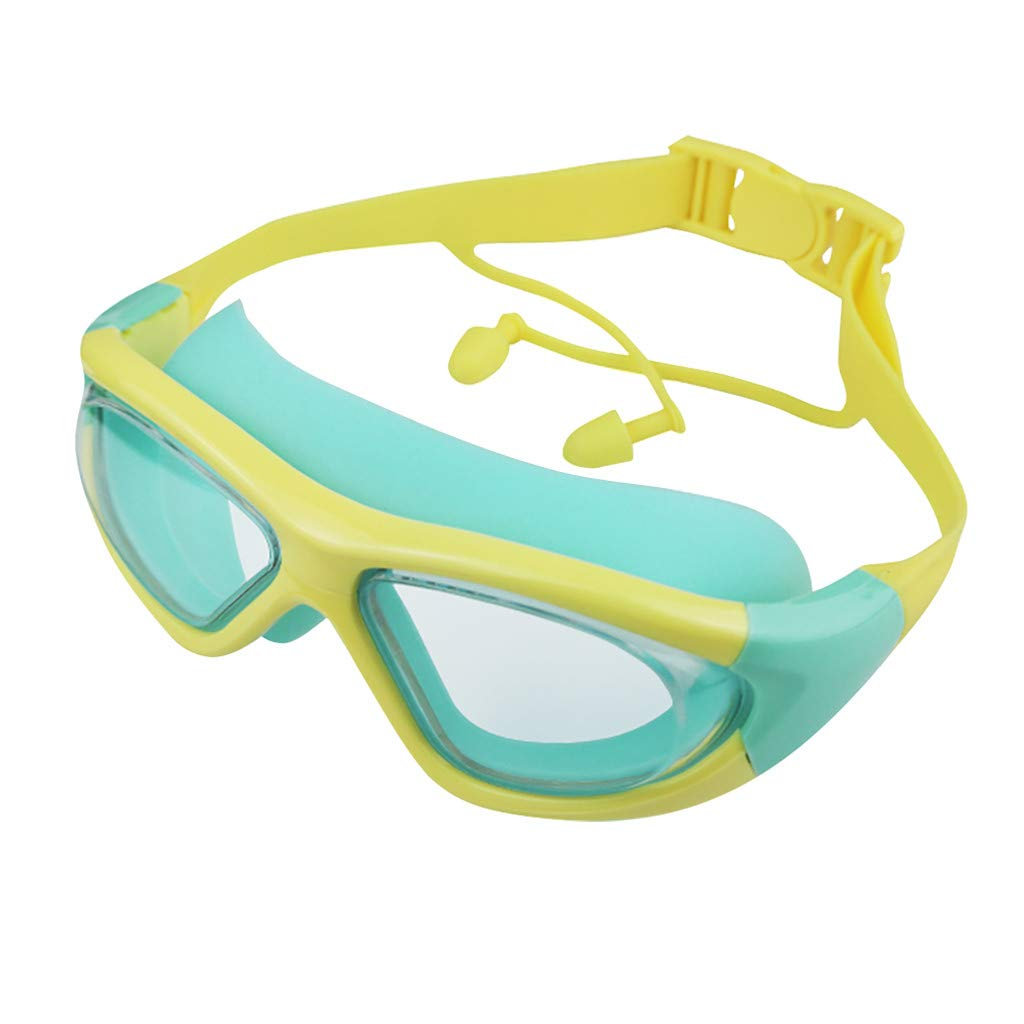 Jinjin Swimming Goggles for Kids Anti-Fog Uv Protection Swimming Goggles with Earplugs for Girls and Boys Pool Swim Glasses Earplug Kids Children