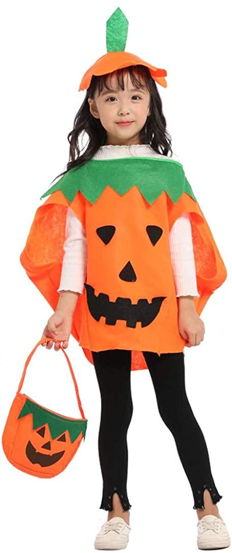 Idefair Halloween Pumpkin Costume 3 PCS for Kids Boys Girls, Party Fancy Dress Cosplay Party Clothes Orange