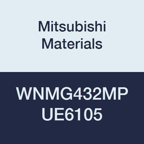 Mitsubishi Materials WNMG432MP UE6105 CVD Coated Carbide WN Type Negative Turning Insert with Hole, MP Breaker, Stable Cutting, Trigon, 0.5