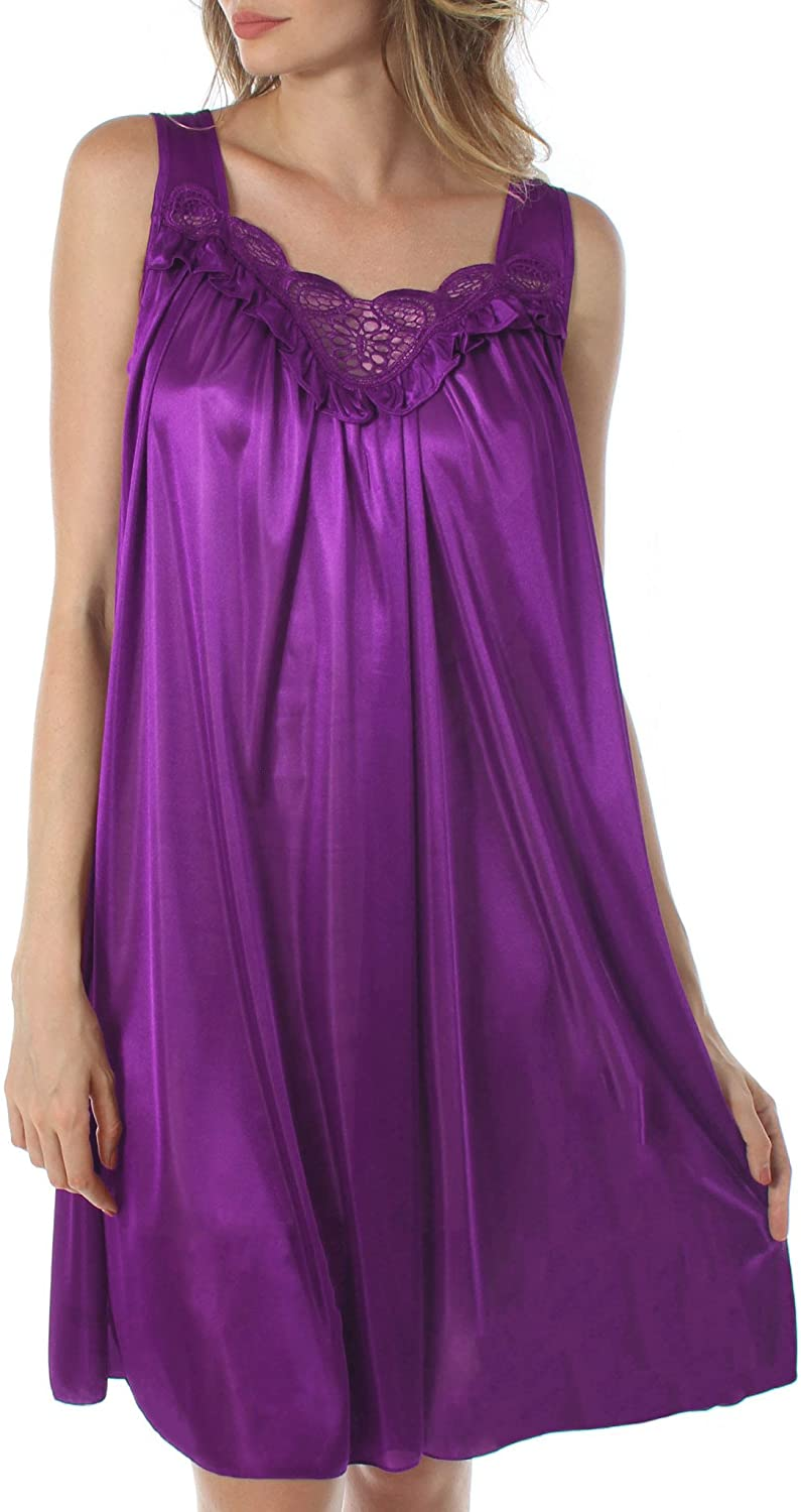 Venice Womens' Silky Looking Embroidered Nightgown 06N