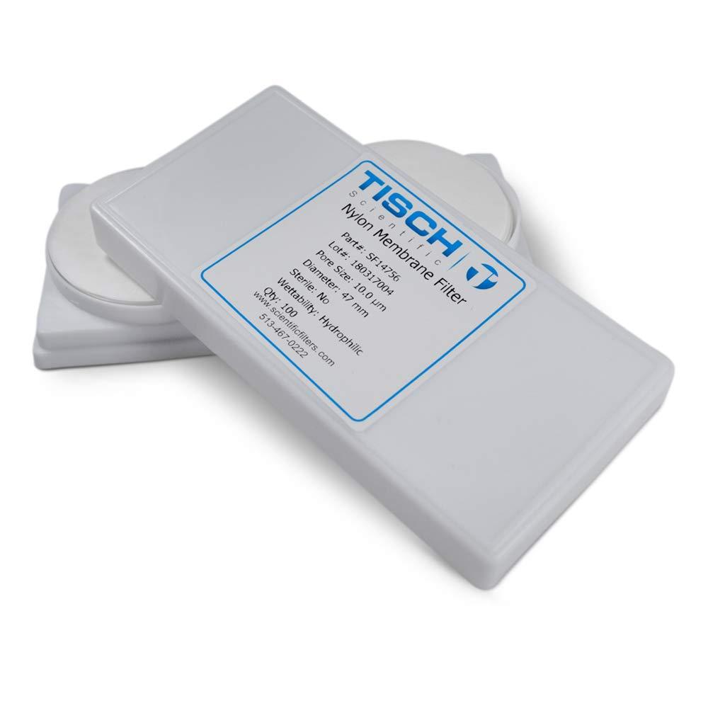 Tisch Brand SF14756 Nylon Membrane Filter, 10.00um, 47mm 1/pk/200 per Pack   Wettability: Hydrophilic   Maximum Operating Temperature: 100 Degrees C   Flow Rate: 25 (ml/min@10psi)  