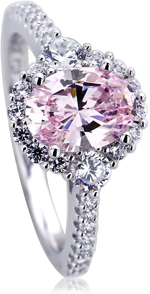 Platinum Plated 925 Sterling Silver Ring 1.2 carat Oval Super Light Pink CZ Stone Halo Ladies Cocktail Ring (Size 5 to 9)