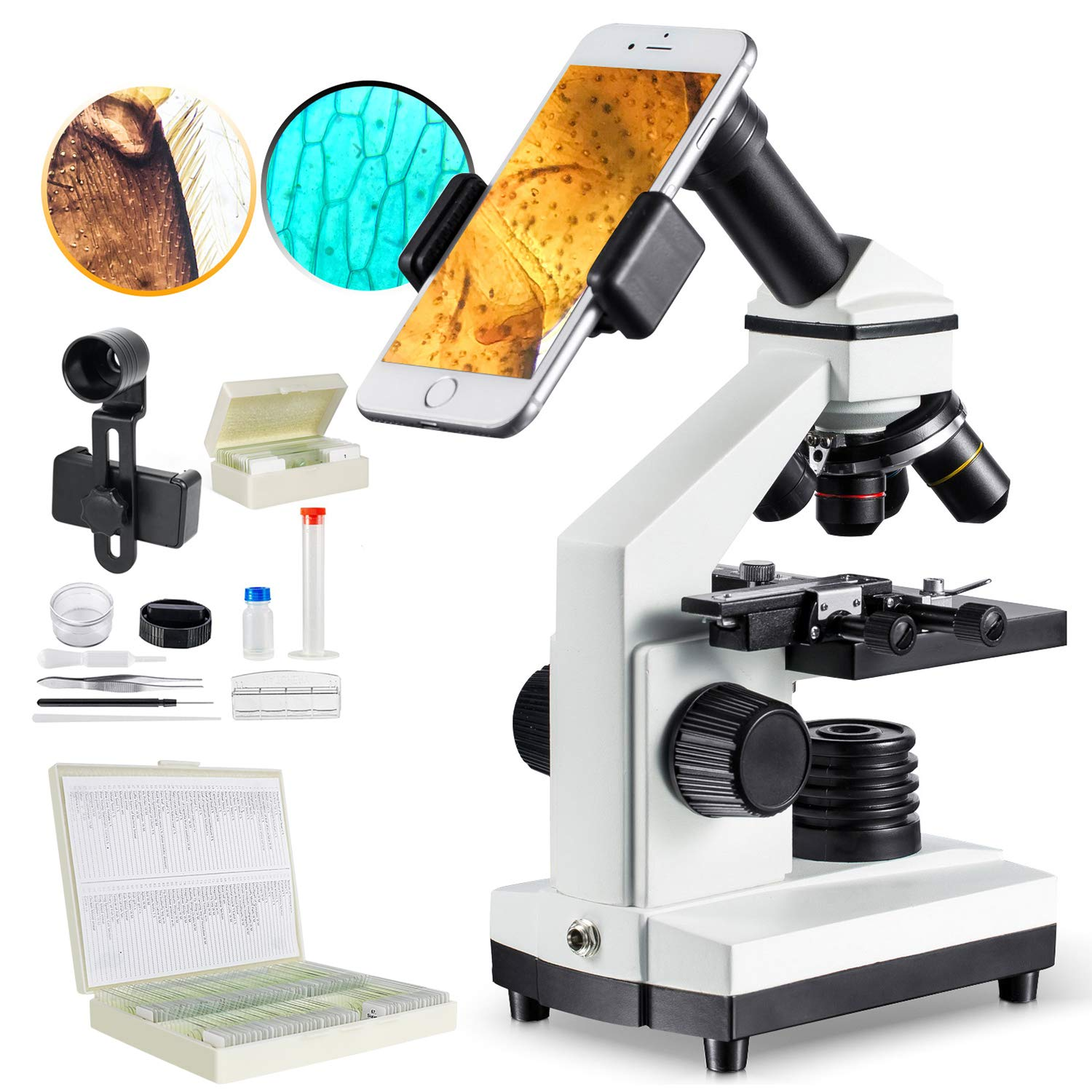 1000x Microscope for Students Plus 100 Pcs Prepared Slides for Microscope
