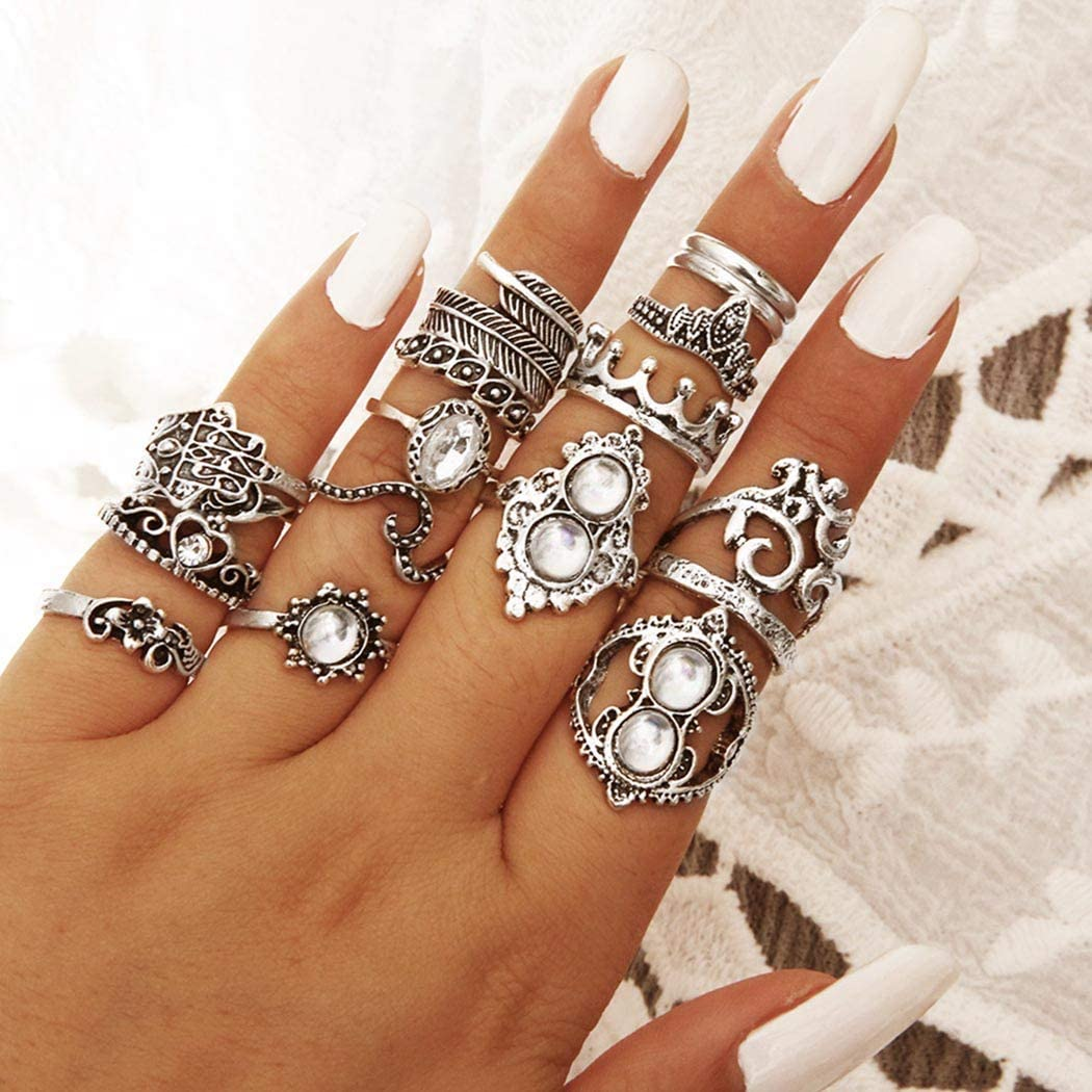 Barode Boho Joint Knuckle Rings Set Silver Rhinestones Vintage Crystal Stackable Finger Ring Flower Carving Midi Stackable Hand Jewelry for Women and Girls(16PCS)